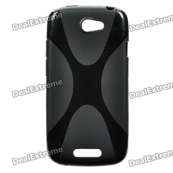 X Pattern Protective Plastic Back Case for HTC One S - Black mesh style protective back case for htc one x s720e deep pink