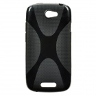 X Pattern Protective Plastic Back Case for HTC One S - Black