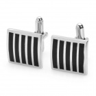 Black Runway Style Cuff Links/Buttons - Black + Silver