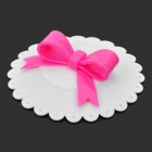 Butterfly Knot Style Silicone Mug Cup Cover Lid - White + Deep Pink