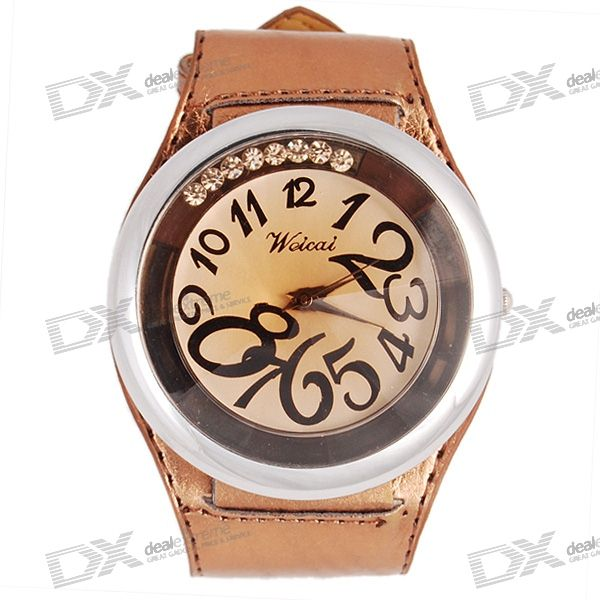 Fashionable Golden Analog Dial Wristwatch with PU Leather Strap