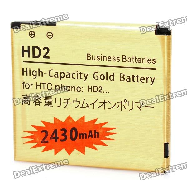 Replacement 3.7V 2430mAh Battery for HTC HD2 - Golden replacement 3 7v 1500mah cellphone battery with charger for htc desire hd