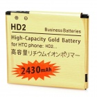 Replacement 3.7V 2430mAh Battery for HTC HD2 - Golden