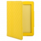 Protective PU Leather Flip Open Case w/ Smart Cover for New iPad / iPad 2 - Yellow
