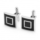 Square Style Cuff Links/Buttons - Black + Silver (Pair)