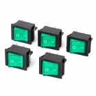 4 Pin-On / Off Chaves oscilantes com luz indicadora verde (5-Piece Pack)
