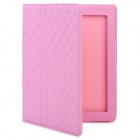 Protective PU Leather Flip Open Case w/ Smart Cover for New iPad / iPad 2 - Pink