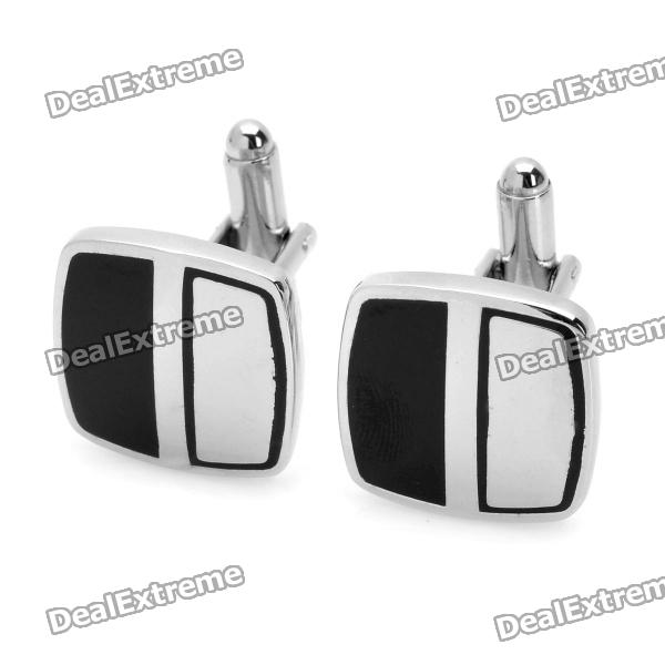 Men's Suits Symmetrical Black/Silver Cuff Links/Buttons (Pair)