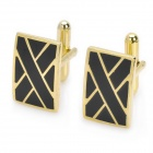 Men's Suits Viaduct Bridge Style Cuff Links/Buttons - Golden + Black (Pair)