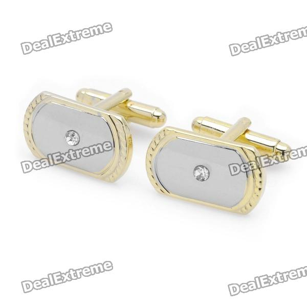 Football Field Diamond Style Cuff Links/Buttons - Silver