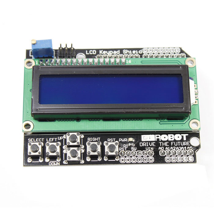 LCD Keypad Shield Expansion Board for Arduino UNOLCD, LED Display Module<br>ModelN/AQuantity1ColorBlackMaterialPCBFeaturesIncludes a 2x16 LCD display and 6 momentary push buttons; Use digital pins PIN4 (DB4)/5 (DB5)/6 (DB6)/7 (DB7)/8 (RS)/9 (E)/10 to interface with the LCD; Adjustable contrast;Packing List1 x LCD keypad shieldNote: Update to blue LCD from 2013/07/30<br>