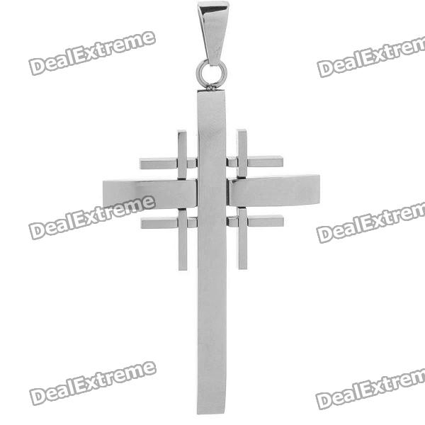 Trendy Stainless Steel Cool Charm Men's Cross Style Necklace Pendant - Silver