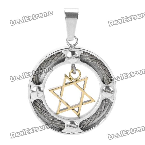 Trendy Stainless Steel Cool Jewish Star Charm Men's Pendant - Golden + Silver
