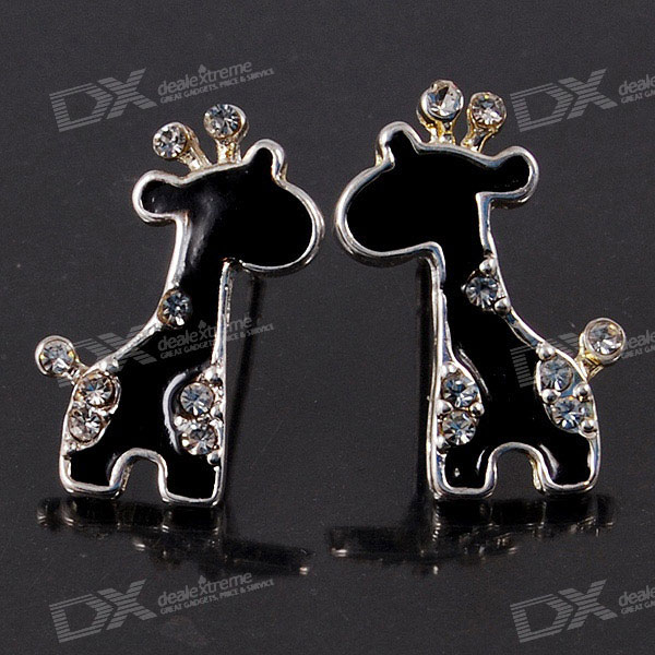 Crystal Giraffe 925 Silver Ear Pin Earrings (Pair)