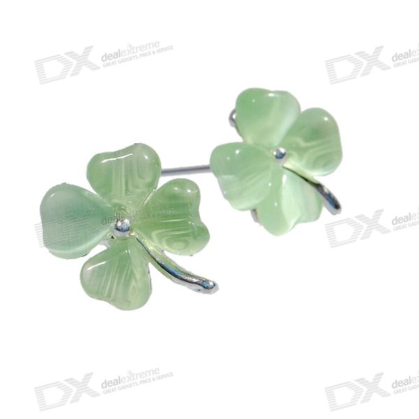 4 Leaved Clover Green Crystal Earrings