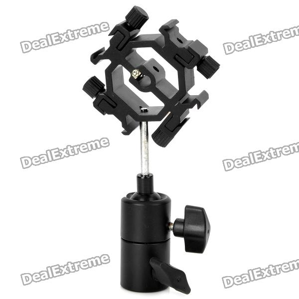 Quad-Hot Shoe Mount Flash Bracket / Umbrella Holder - Black new swivel flash hot shoe umbrella holder mount adapter for studio light stand bracket type e