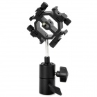 Quad-Hot Shoe Mount Flash Bracket / Umbrella Holder - Black