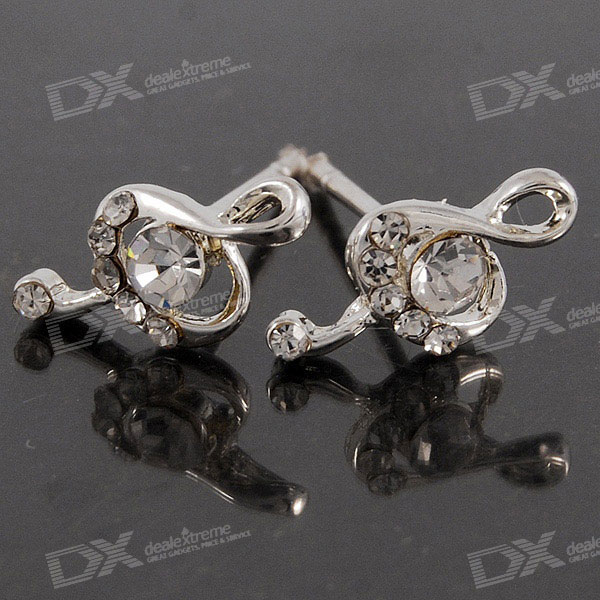 Crystal Treble Music Note 925 Silver Ear Pin Earrings (Pair)