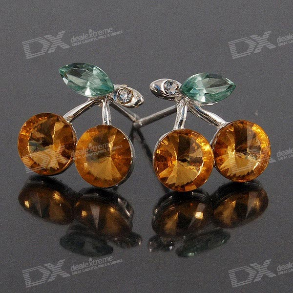 Crystal Flower Ear Pin Earrings (Pair)