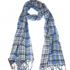 Classic Cotton Plaid Scarf Shawl - Blue (70 x 220cm)