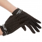 Elegant Prevent Bask Cotton Gloves for Women - Black + White Dot