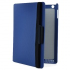 360 Degree Rotatable Small Check Pattern Protective PU Leather Case for The New iPad- Blue