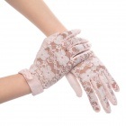 Elegant Cotton Lace Gloves w/ Bowknot for Women - Pink