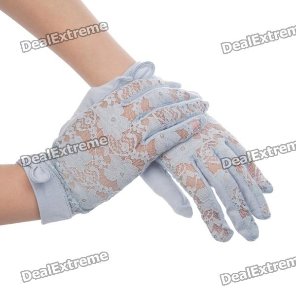 Elegant Cotton Lace Gloves w/ Bowknot for Women - Light Blue universal cotton two finger capacitive screen touching hand warmer gloves black pair size m