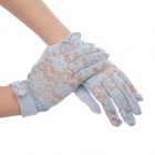 Elegant Cotton Lace Gloves w/ Bowknot for Women - Light Blue