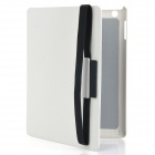 360 Degree Rotatable Small Checked Pattern Protective PU Leather Case for The New iPad- White