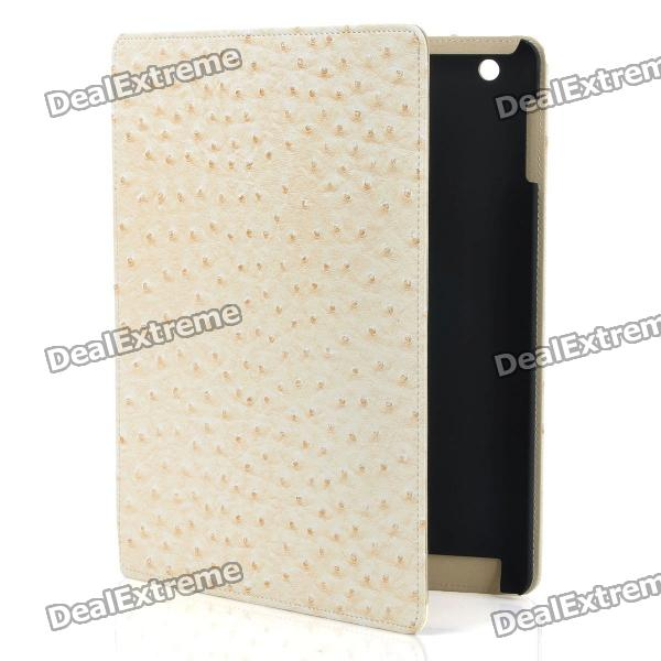 Ostrich Grain Pattern Protective PU Leather Flip Open Case for Ipad 2 - Beige belk p164 lychee grain pattern protective pu abs flip open case for ipad 2 3 4 white