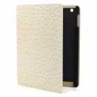Ostrich Grain Pattern Protective PU Leather Flip Open Case for Ipad 2 - Beige