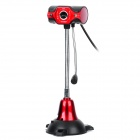 USB 2.0 HD Digital Webcam w/ Microphone & Desktop Holder - Black + Red (115cm)