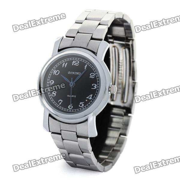 Women's Elegant Stainless Steel Quartz Analog Wrist Watch - Black + Silver (1 x LR626) fashion stainless steel quartz analog wrist watch for women silver blue 1 x lr626