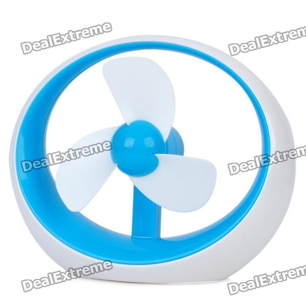 USB Powered 3-Fan-Blade Cooling Fan for Computer - Blue + White (2 x AAA)