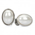 Stylish Zinc Alloy Pearl Earrings - White (Pair)