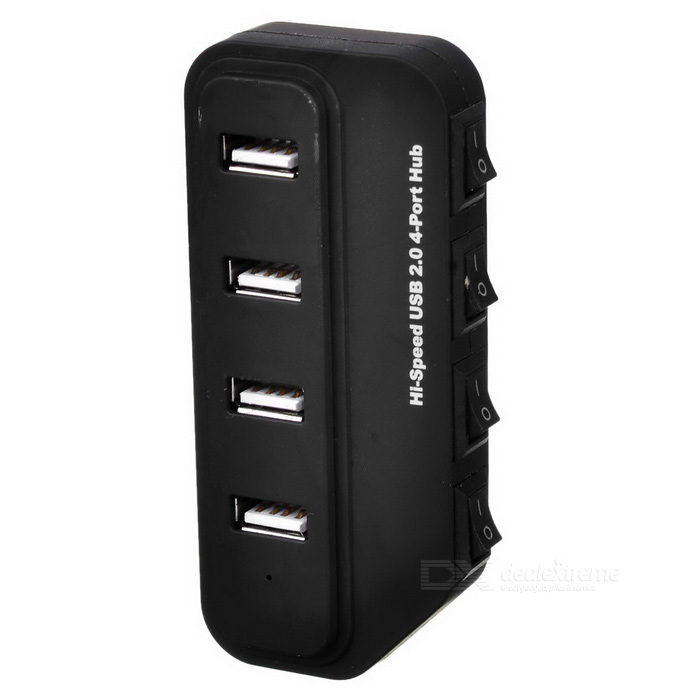 4-Port USB 2.0 HUB w/ Individual Switch & Indicator - Black (45cm) yuanxin x 0141 4 port otg usb 2 0 hub w indicator light black