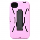 Protective Plastic Back Case w/ Silicone Cover & Stand for iPhone 4 / 4S - Pink