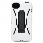 Protective Plastic Back Case w/ Silicone Cover & Stand for iPhone 4 / 4S - White