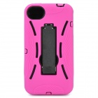 Protective Plastic Back Case w/ Silicone Cover & Stand for iPhone 4 / 4S - Deep Pink