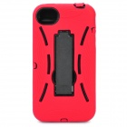Style Protective Plastic Back Case w/ Silicone Cover & Stand for iPhone 4 / 4S - Red
