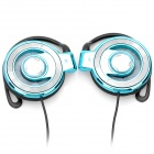 Stylish Multi-Colored LED Transparent Ear-Hook Stereo Earphone - Blue (3.5mm-Plug)