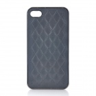 PU Leather Skin Checked Pattern Protective PC Back Case for Iphone 4 / 4S - Grey