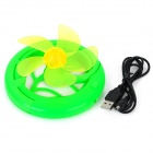 Plastic Folding Fan w/ USB Charging Cable for Computer - Green (5-Fan-Blade, 92cm)