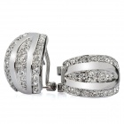 Elegant Zinc Alloy Rhinestone Earrings - Silver