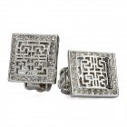 Fashion Square Hollow Out Rhinestone Earrings - Silver (Pair)