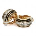 Stylish Zinc Alloy Rhinestone Earrings - Golden + Black (Pair)