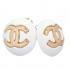 Stylish Zinc Alloy Earrings - White + Golden (Pair)