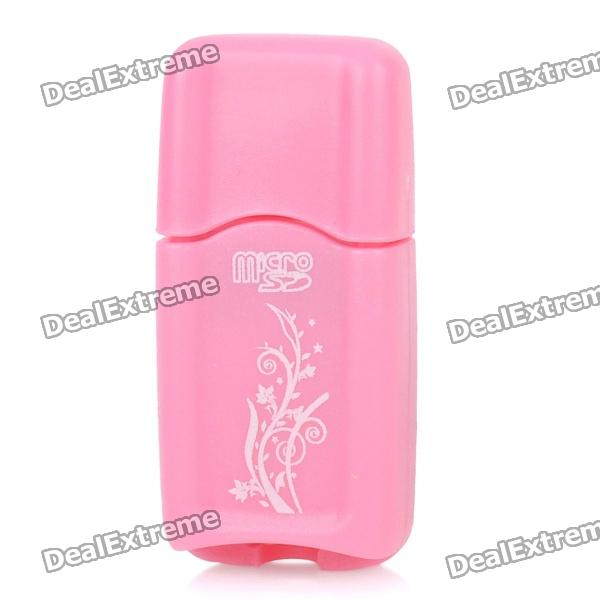 SY-T62 Portable USB 2.0 MicroSD / TF Card Reader - Pink (32GB)