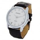 Elegant PU Band Quartz Analog Wrist Watch - White + Brown (1 x LR626)